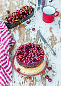 Quark cake with chocolate sponge and cherry jelly