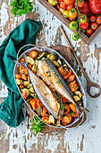 Mackerel roasted with vegetables