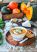 Pupkin soup with goat cheese