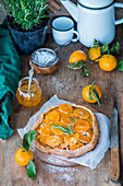 Tangerine honey pie with nut filling