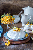 Yellow cherry pavlova