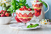 Stawberry dessert with jelly and cream cheese