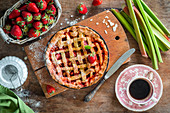 Strawberry and rhubarb lattice pie