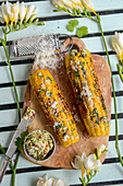 Grilled corn on the cob with coriander butter