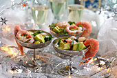 A New Year's Eve buffet with prawns cocktails and champagne
