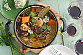 Elk stew with juniper berries and blue cheese
