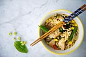 Asiatische Nudelsuppe mit Hühnerfleisch und Gemüse (Aufsicht)