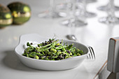 A green bean medley with lentils as a side dish for Christmas dinner