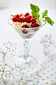 Dessert with red berries served in a stemmed glass