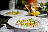 Bass carpaccio with marjoram (made by Stefano Catenacci, Sweden)