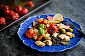 Lentil salad with halloumi and roasted root vegetables