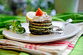 Pancakes with prawn cream and caviar