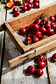 Cherries in a wooden container