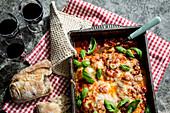 Chicken parmigiana with basil