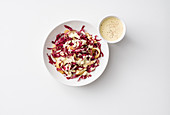 Radicchio salad with pears, nuts and a mustard sauce