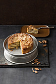 Almond apple cake with cinnamon