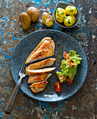 Turkey breast with guacamole and parsley potatoes