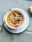 Mediterranean tuna fish stew with white wine