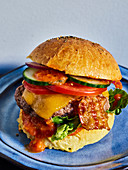 A New York beef burger with bacon