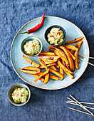 Sweet potato chips with guacamole