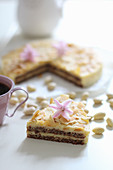 Swedish almond cake, decorated with flowers