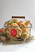 Easter yeast cakes in a wire basket