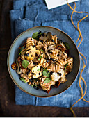 Fusilli with dried mushroom pesto