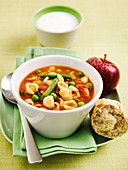 Minestrone soup with red apple bread