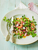 Salmon and broad bean salad with pea shoots