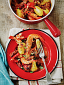 Slow cooked Spanish chorizo and prawn casserole