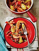 Slow cooked Spanish chorizo and prawn casserole