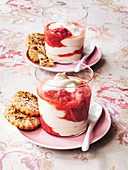 Rhubarb fool with pistachio thins biscuits