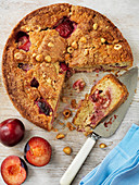 Plum and hazel nut cake