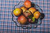Apples in a glass bowl on a checkered tablecloth
