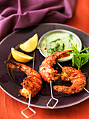 Indian tandoori prawns with cucumber raita dipping sauce