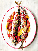 Mackerel cooked with rhubarb, red onion and orange