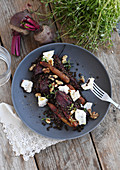 Beluga lentil salad with beetroot and goat's cheese