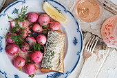 Smoked fish with buttered radishes (seen from above)