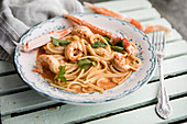 Pasta with scampi in a creamy sauce