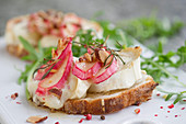 Chevre Chaud with rhubarb and rosemary