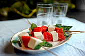 Melon skewers with mint and diced feta