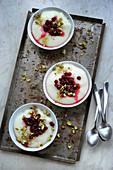 Ashta (arabischer Pudding) mit Preiselbeeren und Pistazien