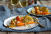 Carrots with feta, chilli and lemons