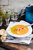 Fish soup with dill and crayfish