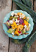Cauliflower with chillis and feta cheese