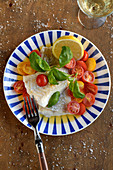 Salted cod with tomato salad