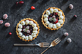 Shortcrust tartlets with vanilla cream, cranberries and rosemary