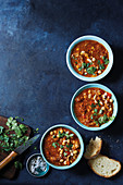 Lamb soup with harissa and chickpeas