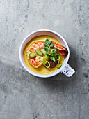 Coconut soup with prawns and shiitake mushrooms