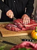 Entrecote being sliced